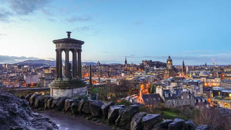 scottish culture: View of old town Edinburgh at twilight Editorial