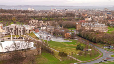 lothian: Old town Edinburgh in Scotland UK from top view Editorial