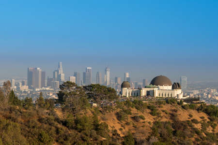 Griffith Observatory and downtown Los Angeles in CA,USA