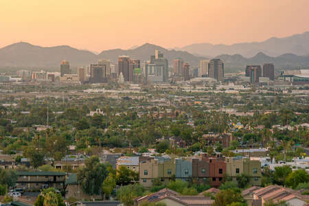 state of arizona: Top view of downtown Phoenix Arizona at sunset in USA Stock Photo