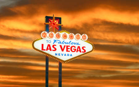 sins: The Welcome to Fabulous Las Vegas sign in Las Vegas, Nevada USA sunset