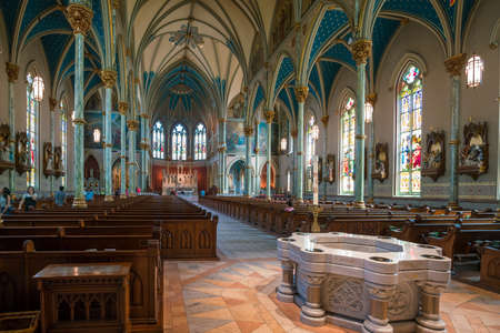 SAVANNAH, GEORGIA - SEPTEMBER 5 : Interior of  St John the Baptist cathedral on September 5, 2016.  The Cathedral was founded in 1700 by the first French colonists. Editorial
