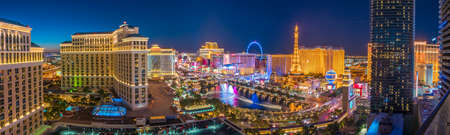sins: LAS VEGAS, USA - JULY 14 : World famous Vegas Strip in Las Vegas, Nevada as seen at night on July 14, 2016 in Las Vegas, USA