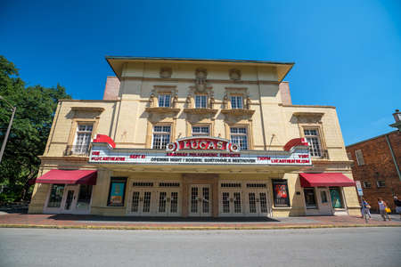 prada: SAVANNAH, GEORGIA - SEPTEMBER 5 : The beautiful architecture of the Lucas Theatre on Abercorn Street in the historic downtown Savannah Georgia on September 5, 2016.