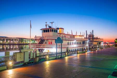 Historic District waterfront of Savannah, Georgia USA at twilight