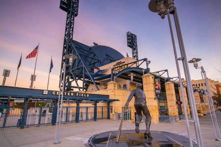 outfield: PITTSBURGH, USA - OCT 30: PNC Baseball Park in Pittsburgh, Pennsylvania on October 30, 2016. PNC Park has been home to the Pittsburgh Pirates since 2001. Editorial