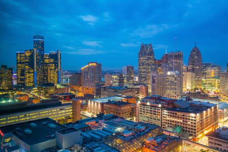 Aerial view of downtown Detroit at twilight in Michigan USA 写真素材