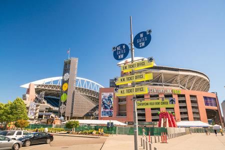 seahawks: SEATTLE - 29 de julio: CenturyLink Field, Seattle, en 29 de julio de 2016. Originalmente fue llamado Estadio Seahawks, pero fue renombrado el Qwest Field el 23 de junio de 2004
