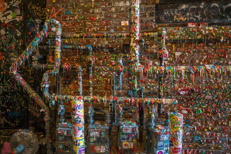 local landmark: SEATTLE- JULY 29 : The Market Theater Gum Wall in downtown Seattle on July 29, 2016. It is a local landmark in downtown Seattle, in Post Alley under Pike Place Market. Editorial