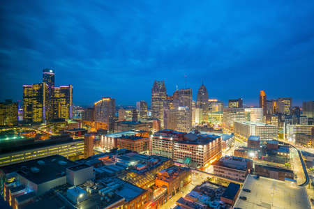 Aerial view of downtown Detroit at twilight in Michigan USA Reklamní fotografie