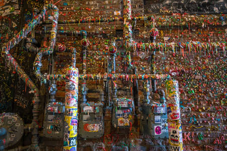 pike place market: SEATTLE- JULY 29 : The Market Theater Gum Wall in downtown Seattle on July 29, 2016. It is a local landmark in downtown Seattle, in Post Alley under Pike Place Market. Editorial