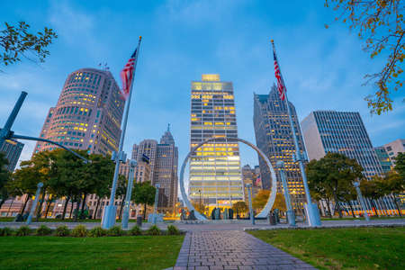 Zicht op downtown Detroit rivierfront in Michigan USA Stockfoto