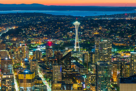 View of downtown Seattle skyline in Seattle Washington, USA