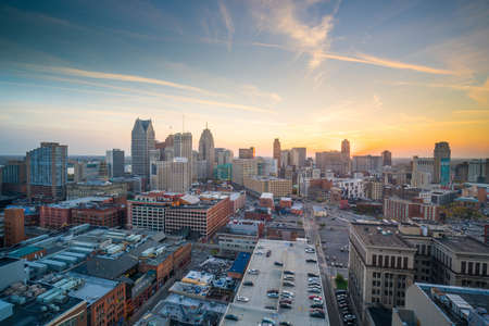 Aerial view of downtown Detroit at twilight in Michigan USA Stock Photo
