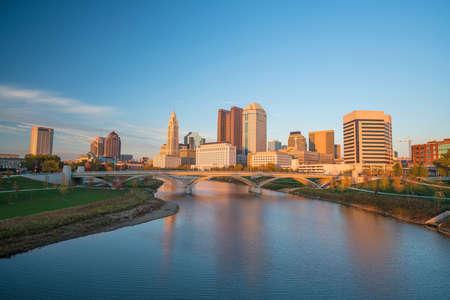 View of downtown Columbus Ohio Skyline at Sunset Фото со стока