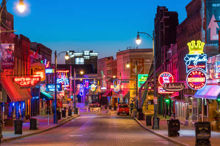 retail scene: MEMPHIS, USA - NOV 12: Neon signs of famous blues clubs on Beale street on November 12, 2016  Beale street is a place for blues festivals and concerts Editorial