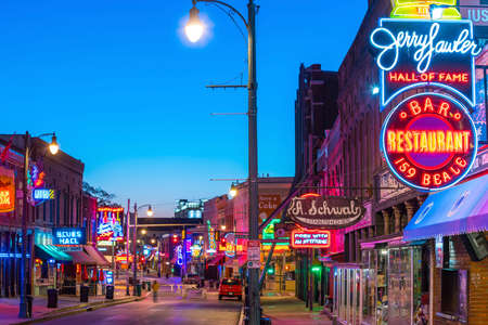 MEMPHIS, USA - NOV 12: Neon signs of famous blues clubs on Beale street on November 12, 2016  Beale street is a place for blues festivals and concerts Editorial