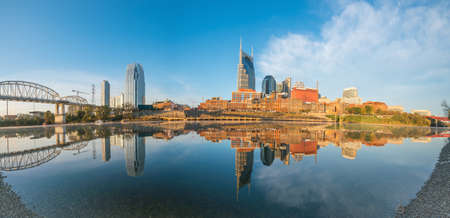 Nashville, Tennessee downtown skyline with Cumberland River in USA Stock Photo