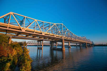 Iron vintage bridge in Louisville, Kentucky USA Stock Photo