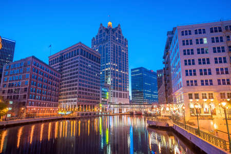 Downtown skyline with Buildings along the Milwaukee River at night, in Milwaukee, Wisconsin. 写真素材