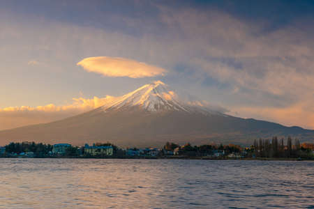 Mt. Fuji sunrise at Lake Kawaguchi in Japan
