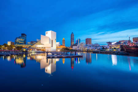 Downtown Cleveland skyline from the lakefront in Ohio USA Stock Photo - 68562418