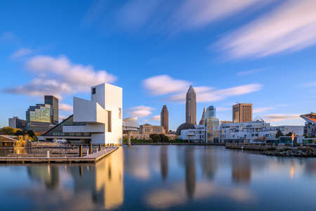 Downtown Cleveland skyline from the lakefront in Ohio USA Stock Photo - 68554192