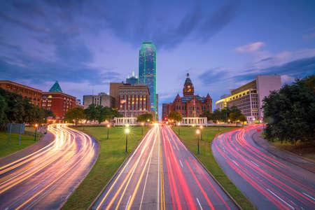 Dallas downtown skyline at twilight, Texas USA Stock Photo - 70328636