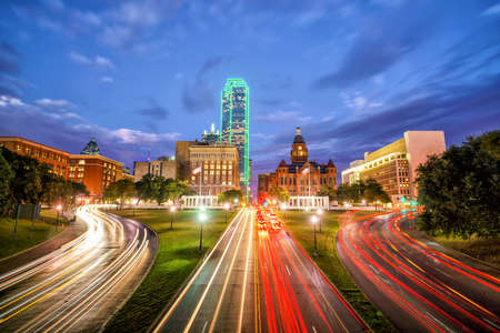 Dallas downtown skyline at twilight, Texas USA Reklamní fotografie - 70344943