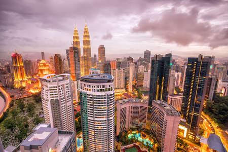 Downtown Kuala Lumpur skyline at twilight in Malaysia