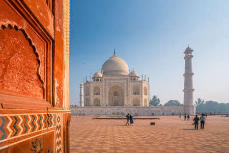 Taj Mahal on a bright and clear day with blue sky Stock Photo