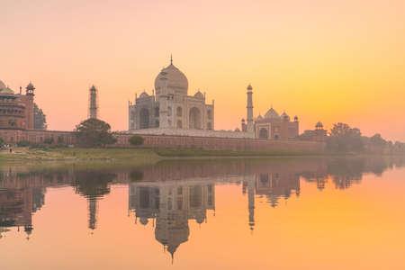 Taj Mahal in Agra India at sunset Stock Photo