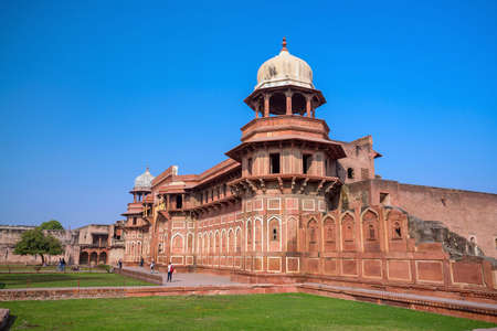 Heritage site Agra Fort (or Red Fort)  in India