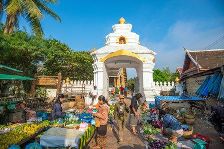 LUANG PRABANG, LAOS - FEB 9: Luang Prabang Morning Market in Luang Prabang Laos on Febuary 9, 2017