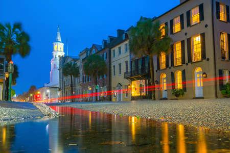 Historical downtown area of  Charleston, South Carolina, USA at twilight.