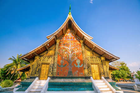 Wat Xieng Thong, the most popular temple in Luang Pra bang, Laos Stock Photo