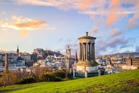 Beautiful view of the old town city of Edinburgh