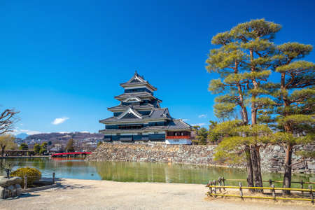 Matsumoto castle in  Japan with blue sky Stock Photo