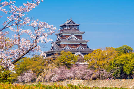 Hiroshima Castle During Cherry Blossom Season in Japan