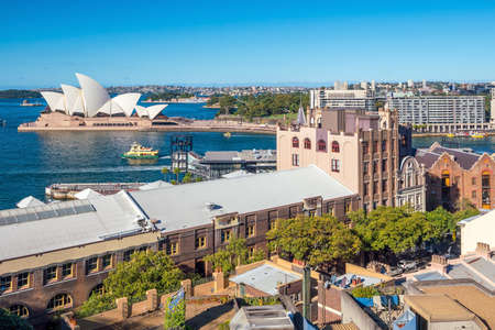 wales: Downtown Sydney skyline with blue sky in Australia Editorial