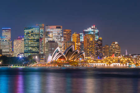 Skyline di Sydney del centro in Australia al crepuscolo Archivio Fotografico - 78804931