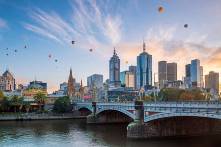 Melbourne city skyline at twilight in Australia