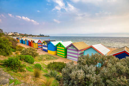 Colorful Beach House at Brighton Beach in Melbourne Australia