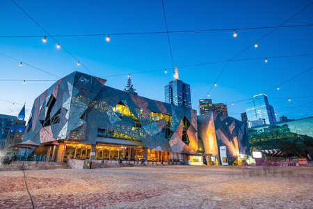 Melbourne, Australia - MAY 13 : Federation Square in Melbourne on May 13, 2017. It is a mixed-use development in the inner city of Melbourne, covering an area of 3.2 hectares. Editorial