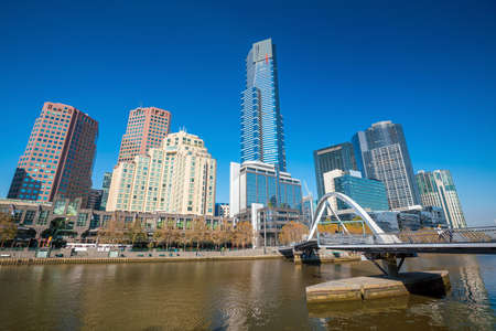 southbank: Melbourne city skyline in Australia with blue sky