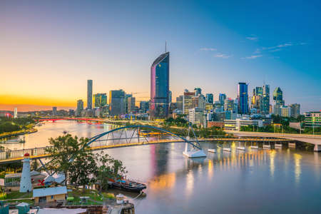 Brisbane city skyline and Brisbane river at twilight in Australia