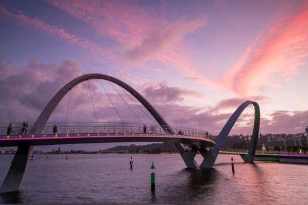 Modern design Arched bridges at Elizabeth Quay marina in Perth, Western Australia.