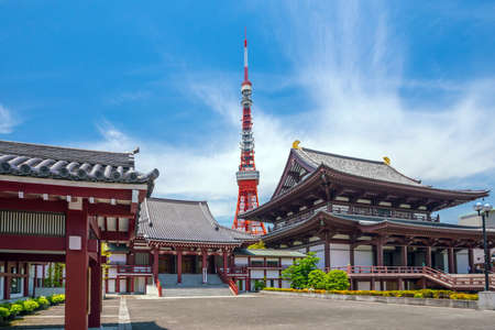 View of Zojo ji Temple and tokyo Tower in Japan.
