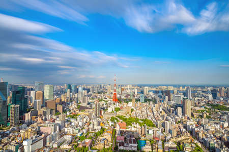 Tokyo skyline  with Tokyo Tower in Japan Editorial
