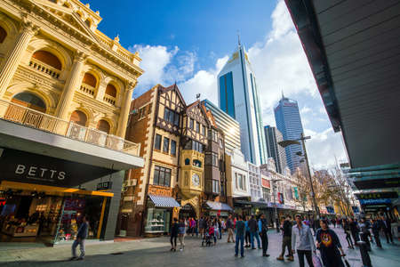 PERTH, AUSTRALIA - July 12, 2017: Hay Street, pedestrian shopping area in downtown Perth with popular boutiques such as the London Court shops Editorial